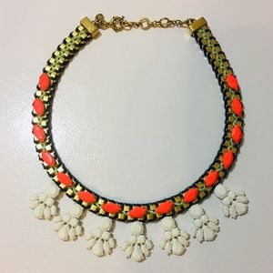 J Crew Orange White Chain Woven Statement Necklace